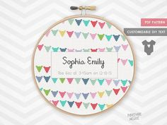"Stitch this easy, personalized birth announcement counted cross stitch pattern. This would make a lovely gift for new parents at a baby shower. Display in a bright, colorful nursery. The pattern is 126 by 124 stitches. Make sure to buy your aida cloth with a few inches extra for a border.   14 count aida – 9"" x 9"" (22.86 x 22.49 cm)  16 count aida – 8"" x 8"" (20 x 19.68 cm)  18 count aida – 7 "" x 7"" (17.78 x 17.49 cm)   Included are two PDFs, one for each name version. Each PDF pattern has a…"