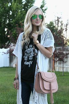S T R I P E S . I N . B L O O M: .be kind always, blush pink tassel bag, bangles, hair tie bangles, ray ban mirror sunglasses, mirror sunnies, summer style, summer nights, casual boho style