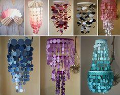 Wonderful DIY Paint Swatch Chandelier - http://www.amazinginteriordesign.com/wonderful-diy-paint-swatch-chandelier/