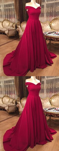 Sexy Long V-neck Off Shoulder Prom Dresses Court Train Evening Gowns P1919