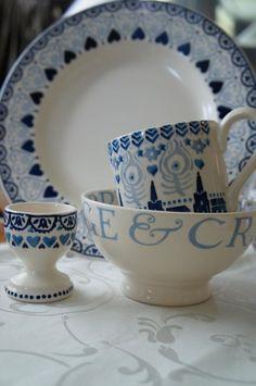 "Emma Bridgewater Starry Night 0.5 pint mug Sample 2012, sample Blue Sampler 10.5"" plate, Cambridge Blue french bowl and Blue Sampler egg cup"