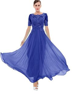 Amazon.com: Sisjuly Women's Beaded Short Sleeves Lace Appliques Chiffon Long Prom Dress US2 Dark Royal Blue: Clothing