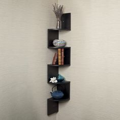 Black Laminate Large Corner Wall Mount Shelf | Overstock™ Shopping - Great Deals on Danya B Accent Pieces