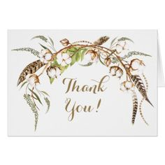 Watercolor Cotton Wreath Feather Wedding Thank You Card - bridal shower gifts ideas wedding bride