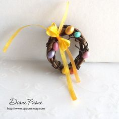 Easter Wreath with Yellow Silk Bow and Pastel Easter by dpaone