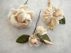 Vintage 1950's millinery flowers 3 pc velvet and cotton assorted small off white