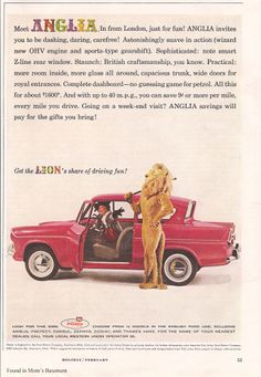 Ford Anglia Saloon - Advert No 106 Ford Motor Company, Retro Cars, Vintage Cars, Retro Vintage, Ford Anglia, Old Lorries, Working Overtime, Ad Car, Commercial Ads