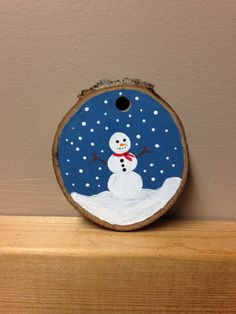 Hand painted snowman wood slice