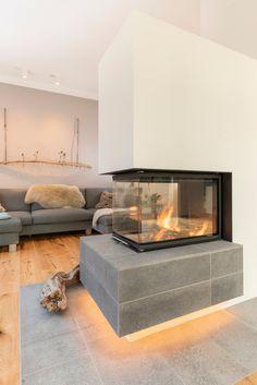 Home Fireplace, Modern Fireplace, Fireplace Design, Home Layout Design, Home Interior Design, House Design, Room Partition Designs, Living Room Partition Design, Mid Century House