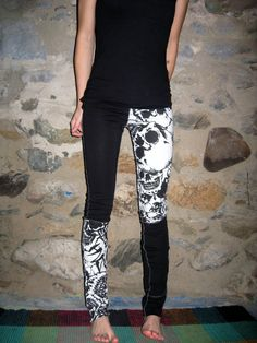 Black and White Skulls Punk Legging/Pants CUSTOM MADE By Vicmes Clothing