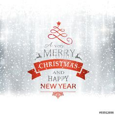 Vector: Silver Merry Christmas typography card