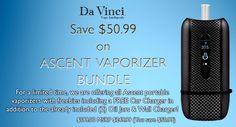 At DaVinci Vaporizer, you can save $50.99 on Ascent Vaporizer Bundle including a FREE Car Charger in addition. For more DaVinci Vaporizer Coupon Codes visit: http://www.couponcutcode.com/stores/davinci/