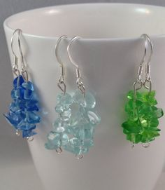 3 pairs of beautiful beachy smoothed glass by IvyLouJewelry, $10.00