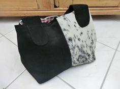 Purse - Bag - Kuhie, Kuhfelltasche aus schwarzem Leder und schwarz-weißem und schwarzem Kuhfell