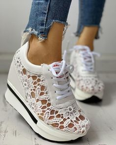 Shop Lace Splicing Muffin Casual Sneakers right now, get great deals at joyshoetique Yeezy Sneakers, Sneakers Mode, Casual Sneakers, Shoes Sneakers, Sneaker Shop, Sneaker Heels, Zapatillas Casual, Estilo Fashion, Platform Shoes