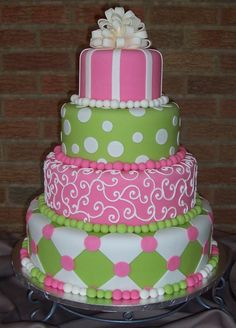 Pink and green show cake - All fondant cake with a fondant bow. Very fun cake!!!  Thank you for looking.
