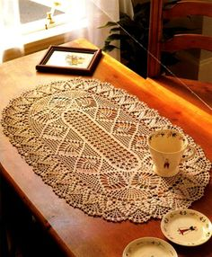 Crochet oval centerpiece ♥LCD♥ with diagram