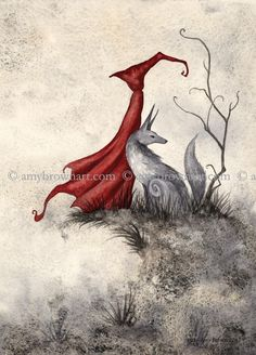 Fairy Art Artist Amy Brown: The Official Online Gallery. Fantasy Art, Faery Art, Dragons, and Magical Things Await. Amy Brown Fairies, Dark Fairies, Red Riding Hood Wolf, Red Art, Arte Popular, Red Hood, Illustrations, Illustration Art, Fairy Art