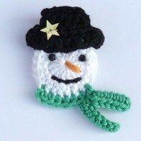 Crochet Christmas snowman brooch