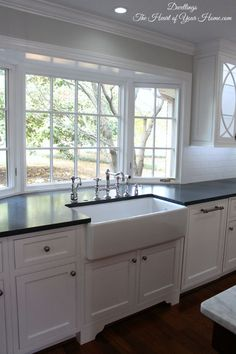 Image result for white kitchen with two front windows