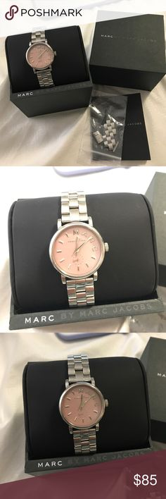Marc Jacobs Baker Silver Pink Watch had it for a couple years. Battery died but could easily be placed for $10 could be done at the same time when you would go in for resizing. extra links will be included. the watch is still in beautiful condition it has its normal wear like little scratches. please look at pictures clearly. i will take offers! no low low! 💗 Marc By Marc Jacobs Accessories Watches