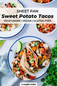 These sweet potato tacos are a dinner idea everyone will love! Roast black beans and veggies on a sheet pan and add your favorite toppings. | dinner ideas | healthy dinner recipes | sheet pan dinners | vegetarian recipes | vegan recipes | plant based recipes | gluten free recipes | dairy free recipes | mexican food recipes | #sweetpotatotacos #sweetpotatoblackbeantacos Easy Vegetarian Dinner, Vegetarian Recipes Easy, Healthy Dinner Recipes, Mexican Food Recipes, Whole Food Recipes, Free Recipes, Vegan Recipes Plant Based, Vegetable Recipes, Homemade Goats Cheese