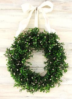 COUNTRY COTTAGE Wreath-Artifical Boxwood Wreath-Summer Door Wreath-White Spring Wedding-Outdoor Wreath-SCENTED Cinnamon Vanilla. $65.00, via Etsy.