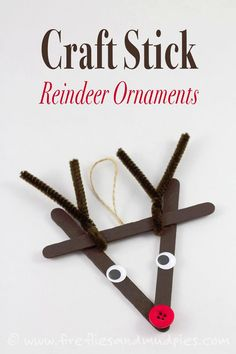 Super Cute Craft Stick Reindeer Ornament | Featured with 29 Awesome Classroom Christmas Party Ideas {OneCreativeMommy.com}