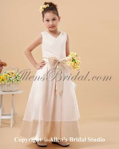 beach flower girl dresses | Charmeuse V-Neck Ankle-Length Beach Flower Girl Dress with Bowknot