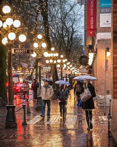 The Yellow Brick Road . The wonderful Water Street of Gastown. Street lamps cast a golden glow off the rain soaked 'sett' sidewalks. Captured Thursday evening from the corner of Abbott and Water Street in Vancouver British Columbia Canada Vancouver Island, Vancouver Travel, Vancouver City, Vancouver British Columbia, Toronto City, Quebec, Calgary, Yellow Brick Road, City Photography