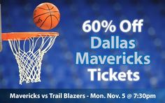 60% off Dallas Mavericks Tickets vs Portland Trail Blazers Mon. Nov. 5 @ 7:30pm