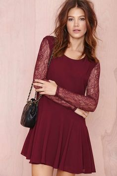 lace sleeves? marroon color kind of old fashion?