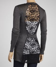 Take a look at this Charcoal & Black Lace Panel Open Cardigan on zulily today!