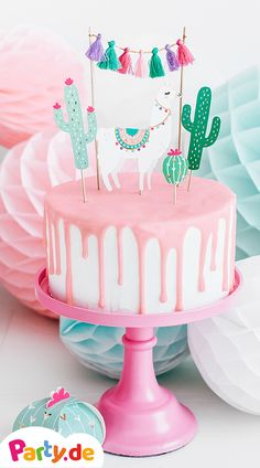 Llama cake topper for children's birthday These cake toppers consisting of llama, cactus and a sweet tassel garland in modern colors are the perfect cake decoration for a llama party or summer birthday. Lama-Caketopper für den Kindergeburtstag 0 Source by Llama Birthday, Birthday Cake Girls, Birthday Parties, Summer Birthday, Birthday Cards, Pear And Almond Cake, Almond Cakes, Fiesta Cake, Fiesta Party