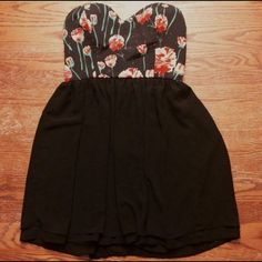 GB Black Strapless Floral Dress Black strapless dress with pink and green floral accents, zipper up the back of dress, polyester GB Dresses Strapless