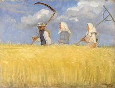 Anna Ancher Harvesters - Top reproduced famous Handmade Oil Painting Reproduction on Canvas Jig Saw, Harvest Pictures, Famous Artists Paintings, Google Art Project, Canvas Online, Nordic Art, Oil Painting Reproductions, The Grim, Illustrations