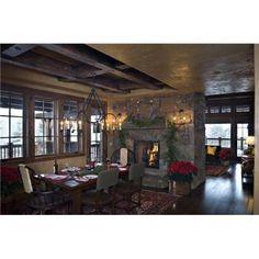 Montana mix - traditional - dining room - other metro - Design Associates - Lynette Zambon, Carol Merica Dining Room Fireplace, Fireplace Garden, Small Fireplace, Fireplace Surrounds, Fireplace Design, Brick Fireplace, Fireplace Ideas, Country Fireplace, Craftsman Fireplace