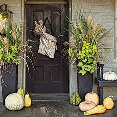 Chesapeake Cottage Revival modern ,unique style fall arrangements in tall containers with mixed grasses and leaves!!! Bebe'!!! A modern fabric pouch filled with grasses adorns the door and pumpkins and squash and gourds line the steps!!!