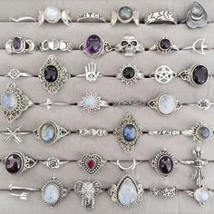 rings, grunge, and accessories - If I could own every single one of these rings that would be great.