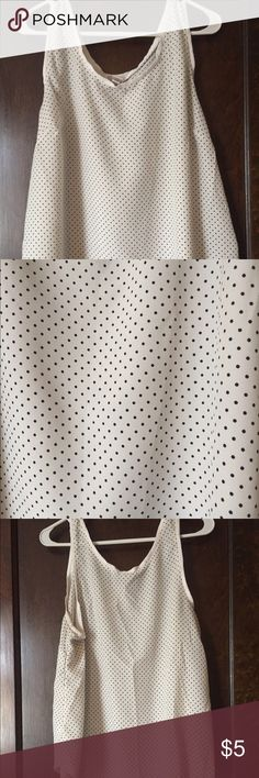 White & Black Polka Dot Merona Tank-XXL Loose white and black polka dot Merona tank with white neck and strap trim. Comes from smoke free home with a cat. Merona Tops Tank Tops