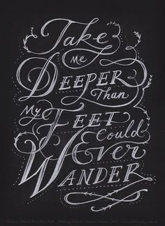 """""""Take Me Deeper"""" hand-drawn illustration by Andrew Frazer. (Inspired by the song Oceans - Where Feet May Fail by Hillsong United on the album Zion.) Thank you for this most beautiful and thoughtful of gifts, Andrew. xx"""