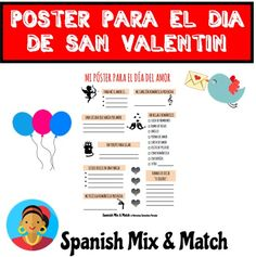 Saint Valentine's Day Poster for Spanish class. High School Spanish, Spanish Teacher, Spanish Classroom, Spanish Projects, Spanish Lessons, Teaching French, Teaching Spanish, Valentine's Day Poster, Teaching Materials