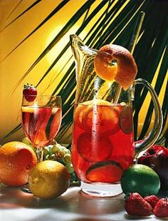 Tropical drinks with a large amount of fresh fruit, perfect for a hot summer's evening...