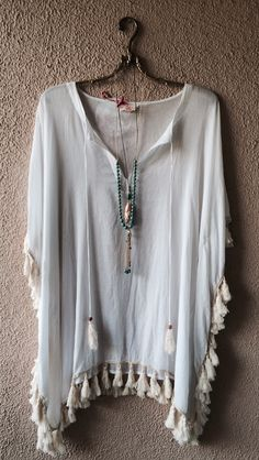 Surf gypsy fringe oversized resort bohemian coverup