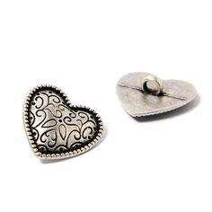 Metallic button, Grafing (20) - Metal - silver