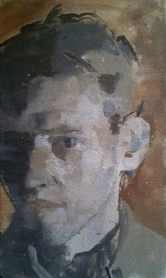Self Portrait by James Bland Date painted: 2013 Oil on canvas laid on board, 26 x 18 cm Collection: The Ruth Borchard Collection