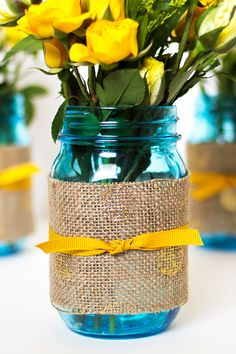 Mason jar wedding idea, wrap printed burlap around a jar and fill with your favorite flowers. Wedding Jars, Wedding Crafts, Diy Wedding, Rustic Wedding, Dream Wedding, Wedding Decorations, Wedding Boots, Wedding Country, Yellow Wedding