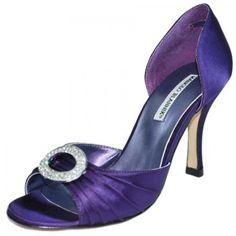 Possible WEDDING SHOE!!!!!!  PURPLE Manolo Blahnik Shoes ~ Satin d'Orsay in Purple Sedaraby Purple Jew