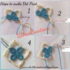 Usha has been playing with her dot picots. Think of the dot picots as miniscule mignonette since they are tiny 1 stitch rings. Usha shows s. Tatting Patterns Free, Crochet Doily Patterns, Lace Patterns, Crochet Doilies, Dress Patterns, Needle Tatting, Tatting Lace, Tatting Tutorial, Tiny Rings