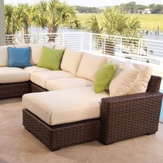 Using patio couch cushions can create comfort and elegant sense. Patio is a part of room in the house. Patio often used as assemble place with family Outdoor Wicker Patio Furniture, Patio Furniture Cushions, Patio Cushions, Wicker Chairs, White Cushions, Chair Slipcovers, Ottoman Furniture, Wicker Table, Courtyards